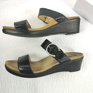 Mephisto  2 Strap Buckle Textured Leather Sandal